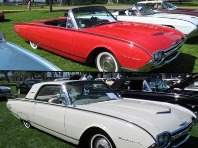 1961 red convertible and white hardtop thunderbirds bird nest thunderbirds